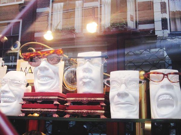 Glasses Opticians Shop Window Mannequin Faces Expression