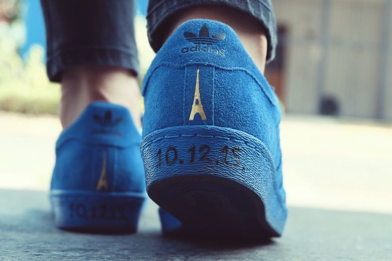 Our hearts (and feet) will always lead to Paris. Paris Paris Je T Aime Fashion Sneakers Adidassupertar Adidas Kicks Love Fujifilmxa2 Ootd Color Palette Blue Deep Blue Tour Eiffel Eiffel Tower Two Is Better Than One