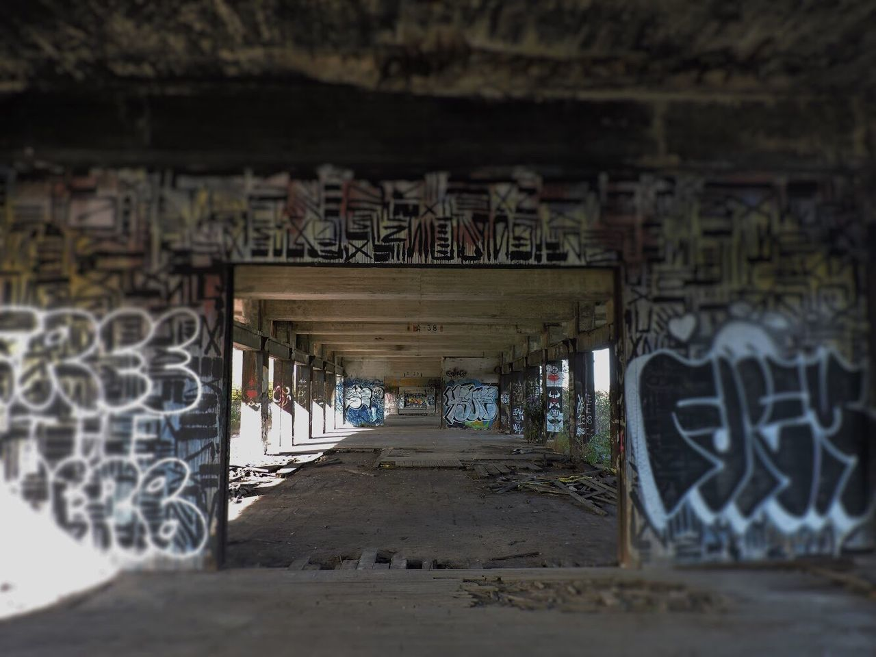 graffiti, text, architecture, built structure, indoors, day, no people