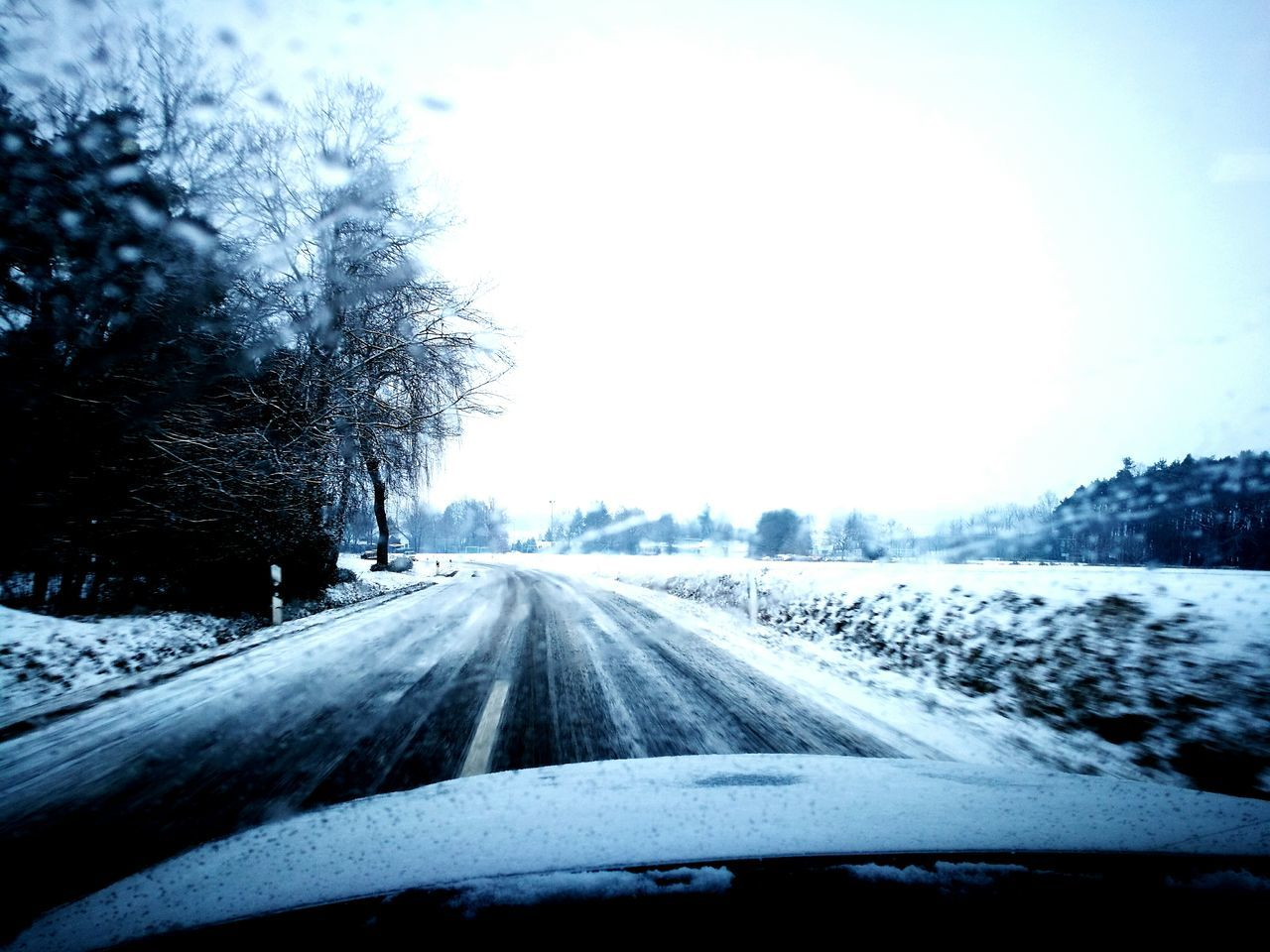 car, cold temperature, windshield, transportation, winter, car interior, vehicle interior, snow, the way forward, road, car point of view, land vehicle, tree, weather, mode of transport, nature, windscreen, no people, driving, travel, day, dashboard, journey, road trip, frozen, landscape, scenics, clear sky, beauty in nature, sky, outdoors, close-up