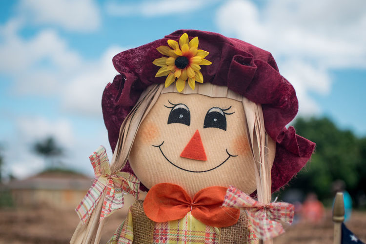 Close-up of scarecrow against sky