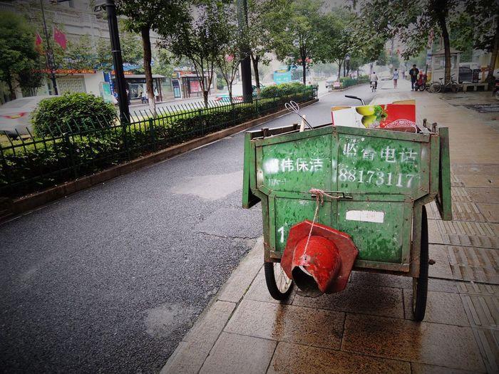 Empty seats on street in city