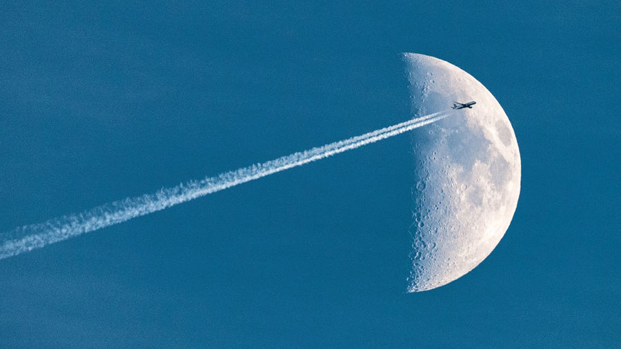 """Fly me to the moon..."" 16x9 Air Travel  Air Vehicle Airplane Blue Contrail Copy Space Day Flying Holidays Moon Moonlight Nature No People Outdoors Sky Travel Vacations Vapor Trail Flying High Minimalism Long Goodbye The Great Outdoors - 2017 EyeEm Awards Let's Go. Together. Lost In The Landscape Go Higher It's About The Journey"