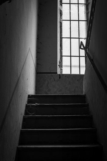 Abandoned Buildings Absence Architecture Building Built Structure Day Direction Empty Home Interior House Indoors  Low Angle View No People Old Railing Staircase Steps And Staircases The Way Forward Wall Wall - Building Feature Window