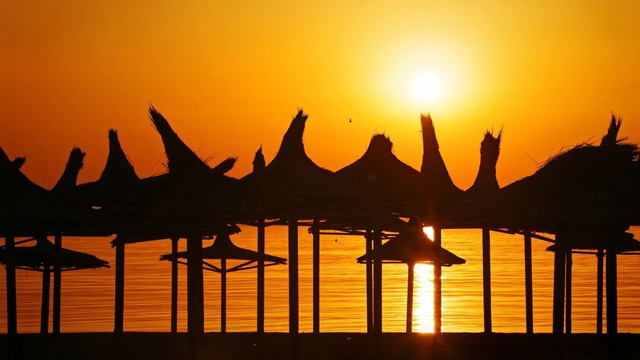 Silhouette parasols against orange sky during sunset