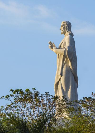 Cristo de la Habana Jesus Christ Monument Religion Faith Havana Cuba Golden Hour Representing Statue Sculpture Sky Sculpted Angel Human Representation Catholicism Christianity Art