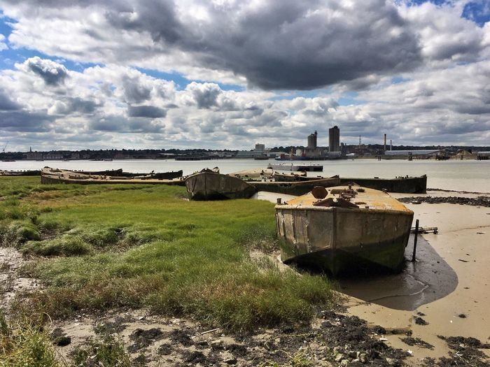 Mud & Rust ... Derelict Barges on the River Thames fabulous Clouds And Sky on a long cycle ride yesterday