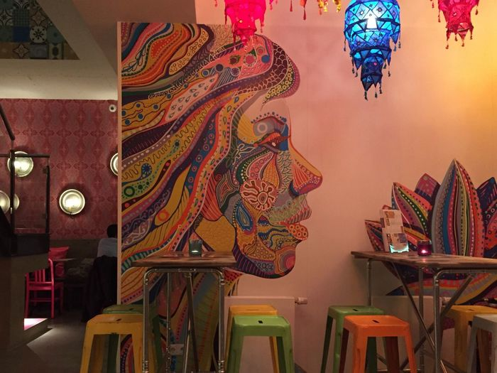 Indian Eating Restaurant Colorful