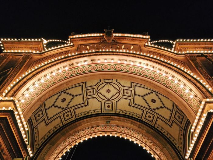 Night Low Angle View Architecture Façade Built Structure Arch Tivoli Tivoli Garden Copenhagen, Denmark Copenhagen Tivoli Gardens Tivoli@night History Sky High Section Majestic The Past Architectural Feature No People