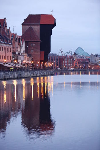 Autumn Lights Mirrored Morning Old Town Poster Riverside Winter Architecture Building Building Exterior Buildings Built Structure City Crane Day Dust Evening Gdansk Motława No People Old Outdoors Reflection Residential Building River Sky Travel Destinations Water Waterfront
