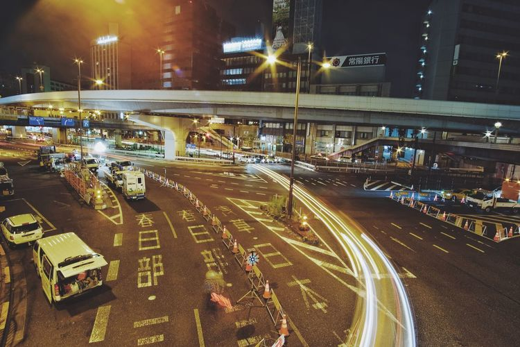 Architecture Built Structure Car City City Life Fujifilm High Angle View Illuminated Japan Light Trail Long Exposure Motion Night No People Outdoors Road Speed Street Light Streetphotography Strettphotograpy Traffic Transportation