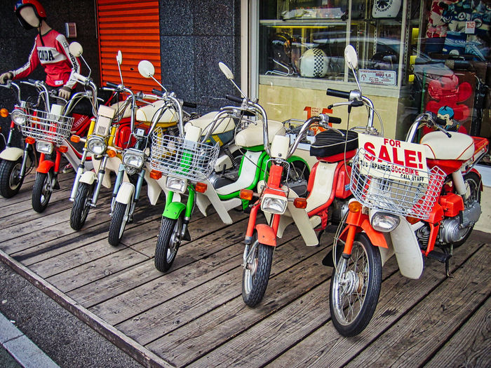 Colorful mopeds! http://www.photobymaren.com Moped Mopeds Lined Up Sale Colorful Land Vehicle Mode Of Transport Mopedphotos Mopeds Transportation