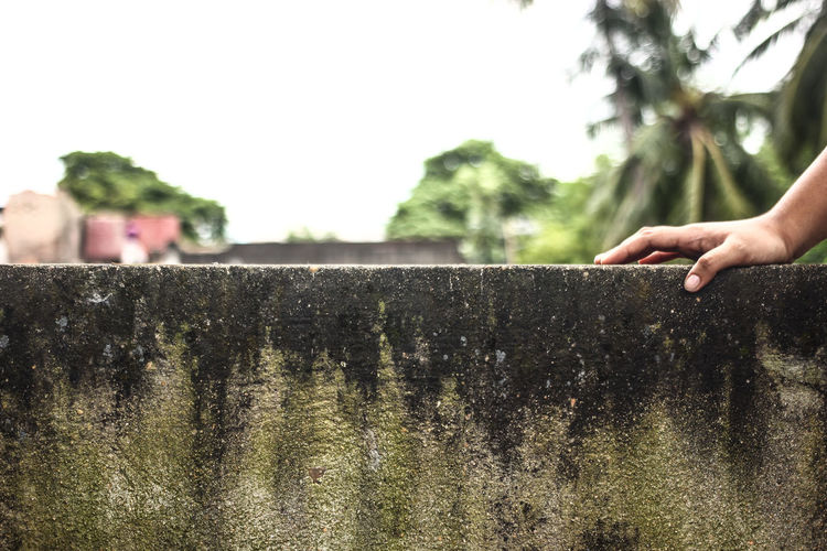 Cropped Hand On Concrete Wall Against Clear Sky