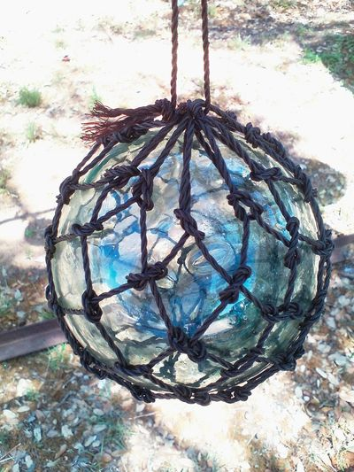 Float Glass Ball Glass Float Beauty In Blue Blue Glass Glass Glass - Material Hanging Knots Net Netting Pattern Sphere Transparent