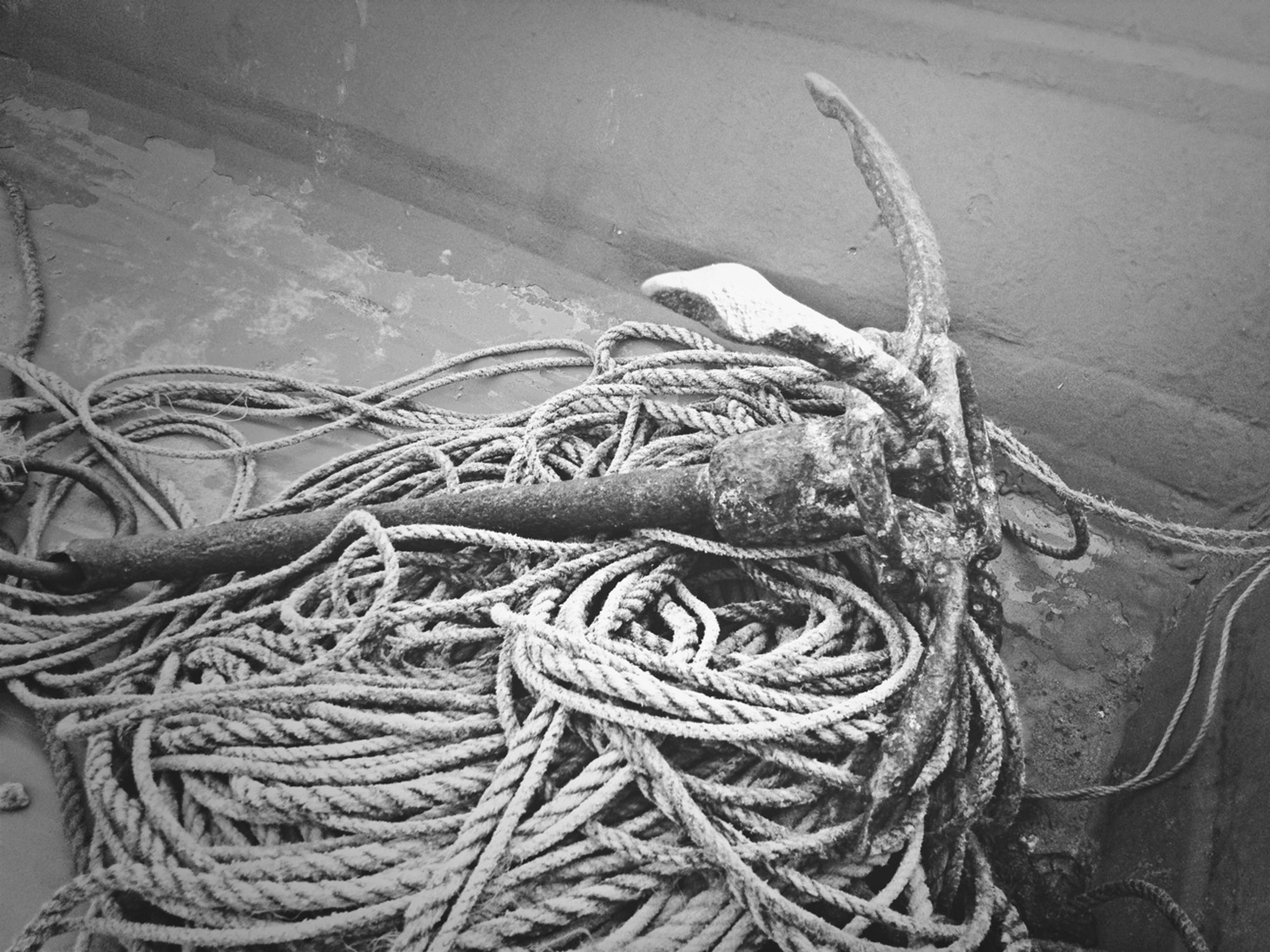 high angle view, rope, water, close-up, no people, day, outdoors, transportation, nature, pattern, nautical vessel, sea, textured, fishing industry, tranquility, fishing net, still life, mode of transport, sunlight