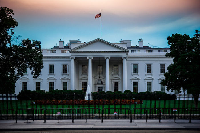 White House. Obama Architectural Column Architecture Building Building Exterior Built Structure City Day Façade Flag Government History No People Outdoors Patriotism Sky Travel Destinations Trump White House