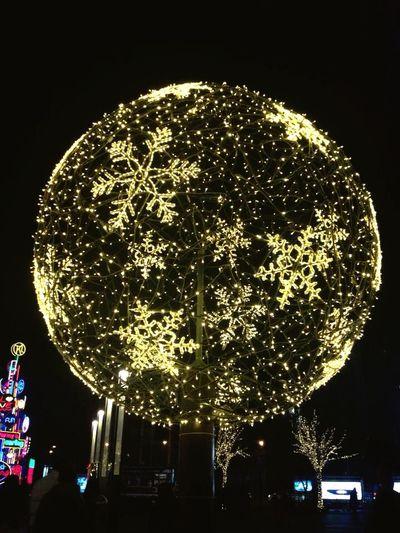 Illuminated tree against sky in city at night