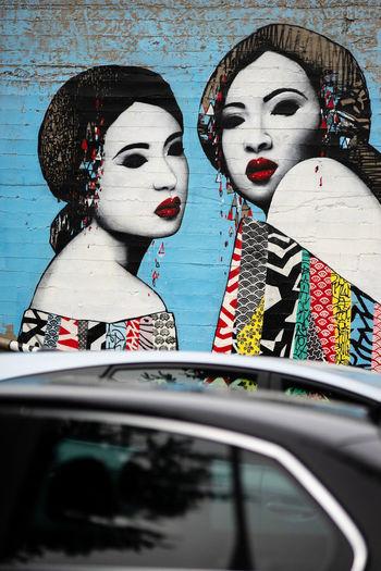The ladies in the lot. Car Close-up Female Likeness Street Art Mural Human Representation