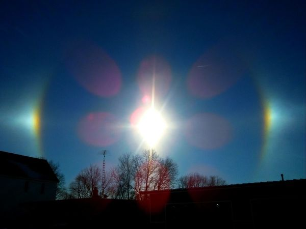Such a beautiful sight upon arriving at work!! Sun Outdoors Day Beauty In Nature Sundog Sun Dogs In The Sky Check This Out Frozen Nature Pretty♡ Sky No People Picturejunkie