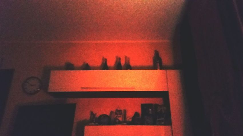 Indoors  Illuminated No People Domestic Room Night Home Interior Deep Blue Sea Deep Night Insomnia Wine Bottles On Display Wine Bottles Black And Red EyeEm Best Shots