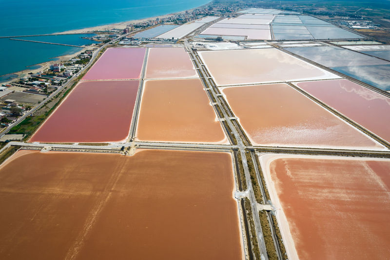 Aerial view of the salt pan in margherita di savoia, unesco heritage from above, apulia