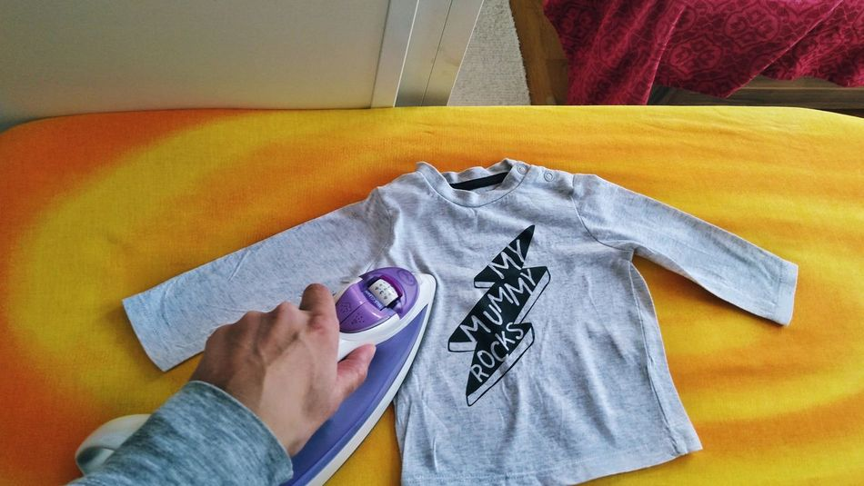 Ironing Laundry Motherhood Moments Household Ordinary Day Textile Low Section High Angle View Close-up