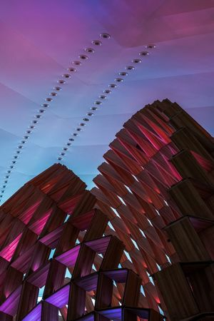 Low Angle View Sky No People Built Structure Architecture Multi Colored Building Exterior Outdoors Day Museum Museu Brazil Rio De Janeiro Art Architecture Architecture_collection Creativity Creative Colors Wood Wood - Material Light Lights Reflection Space EyeEm Ready
