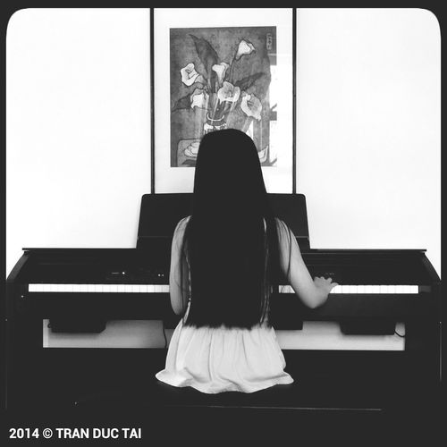 My Daughter Little Pianist Portrait Black And White