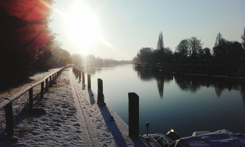 Towpath Sunrise Thames Upstream Sunny Winter Water Sunlight Outdoors Lake No People Nature Tranquility