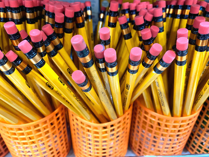 High angle view of multi colored pencils in basket