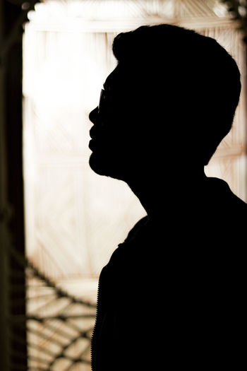 Close-up of silhouette man