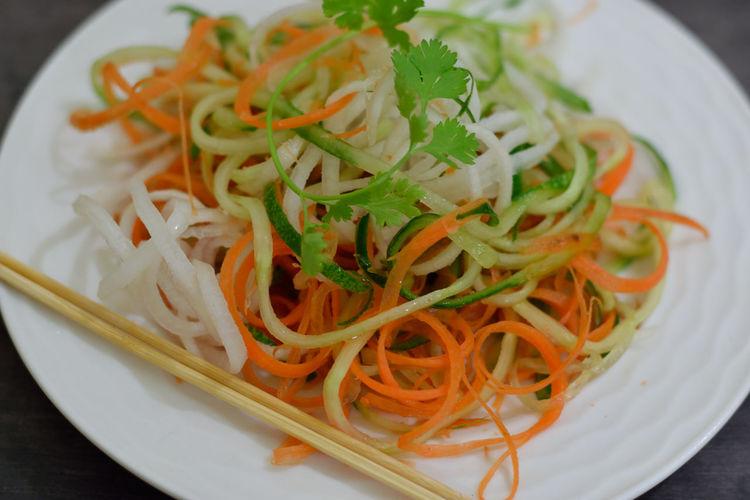 fresh and healthy salad Carrot Cucumbers Radish Raw Food Salad Italian Food High Angle View Plate Close-up Food And Drink