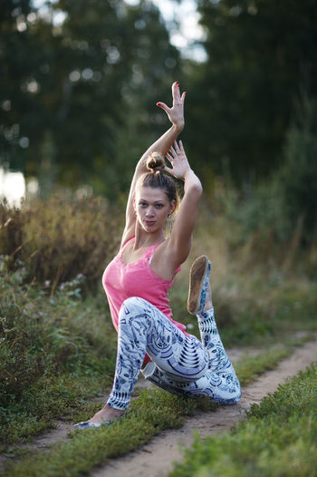 Adult Athletic Back Caucasian Concentration Energy Exercises  Female Fitness Girl Health Healthy Meditation Mental Outdoors Pose Sport Stretches Woman Yoga Young
