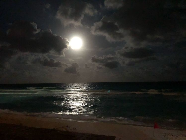 Cancún by moonlight Cancun Mexico Reflections Darkness Water Clouds Moonrise First Eyeem Photo