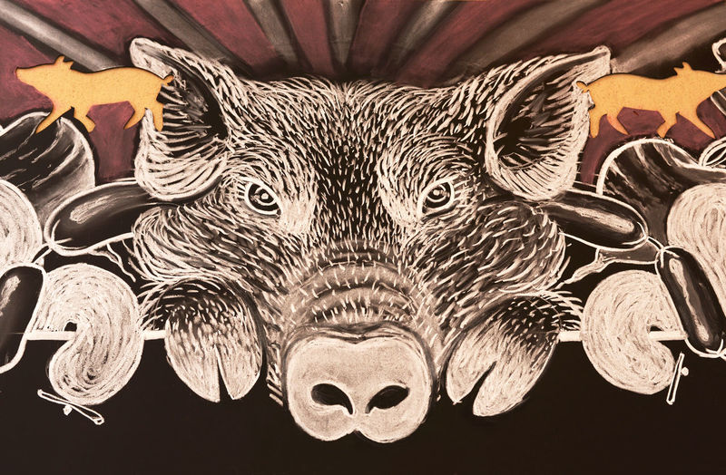 Background Brown Drawing Food Food Comerciale Pattern Pig Piggy Salami Wallpaper
