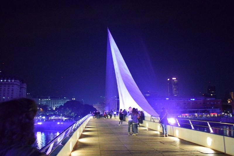Night Illuminated Architecture City Urban Buenos Aires Puerto Madero People Bridge - Man Made Structure Beautiful Land HUAWEI Photo Award: After Dark