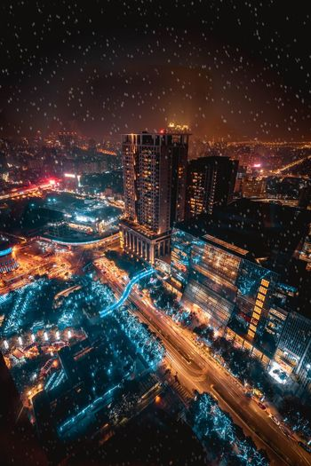 My city. Snow Christmas Lights Urban Exploration Cityscape Citylife City Urban Christmas Night EyeEm Best Shots Illuminated Cityscape Architecture Building Exterior High Angle View City Sky No People Modern Urban Skyline Outdoors