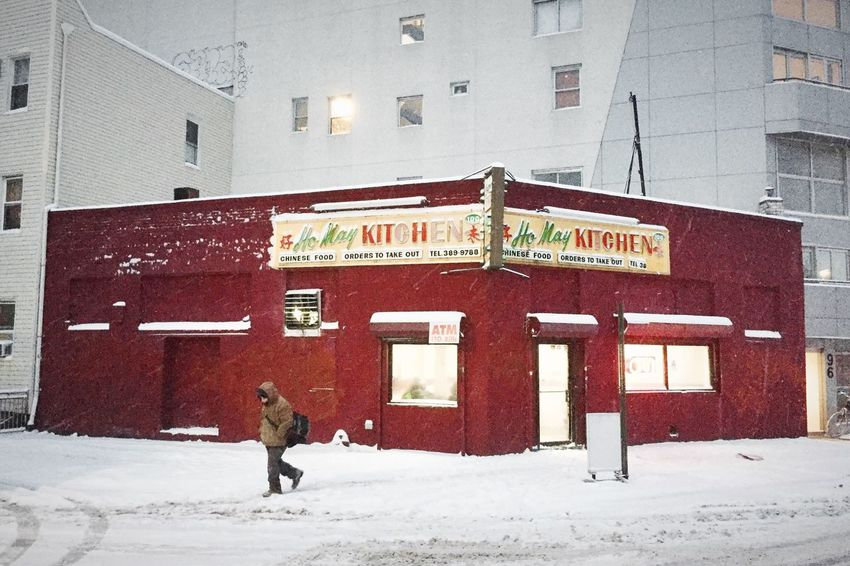 Blizzard Snow Winter Cold Temperature Building Exterior Chinese Food Snow Storm Brooklyn Nyc Williamsburg New York Resturant