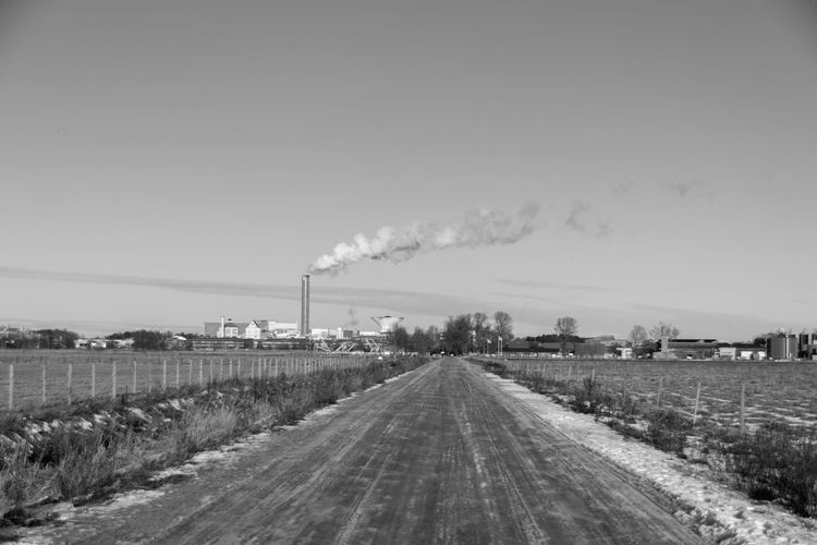 Agriculture Black And White Blackandwhite Clear Sky Day Factory Industry Landscape Nature No People Outdoors Sky The Way Forward Tree