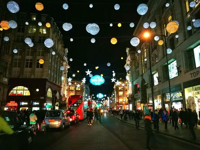 Oxford Street  Christmas Decoration Night Hello World