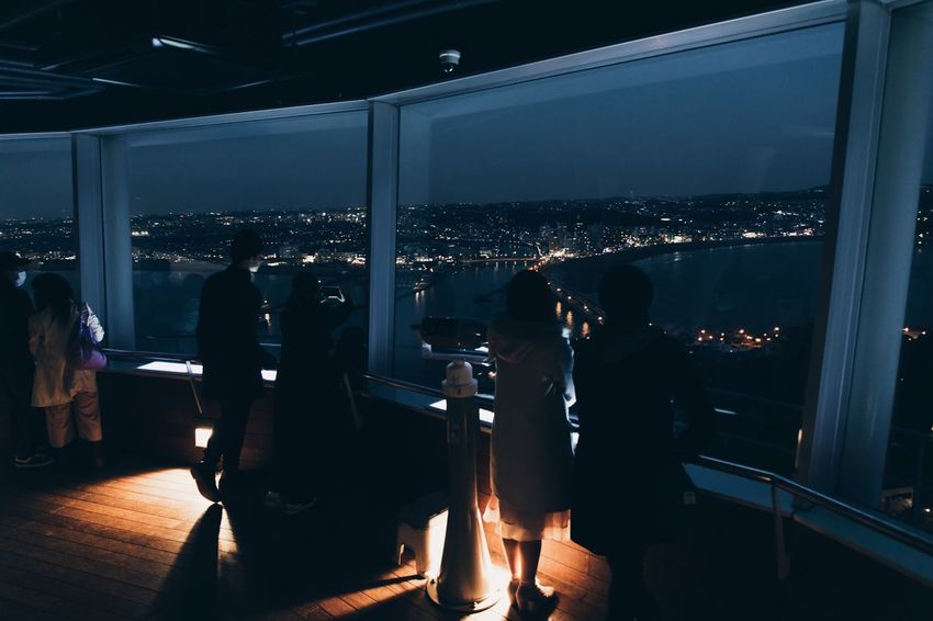 Vscocam Streetphotography Silhouette Night Illuminated Real People Indoors  Lifestyles Leisure Activity Men Window People