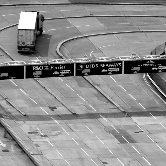 Blak And White Day Dover Ferry Terminal Monochrome No People Outdoors Parallel Lanes Port Railroad Station Text Transportation Truck