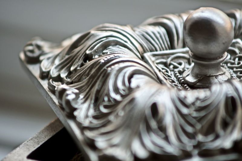 Close-up Focus On Foreground Jewellery Box Macro Selective Focus Silver  Trinket Wooden Box
