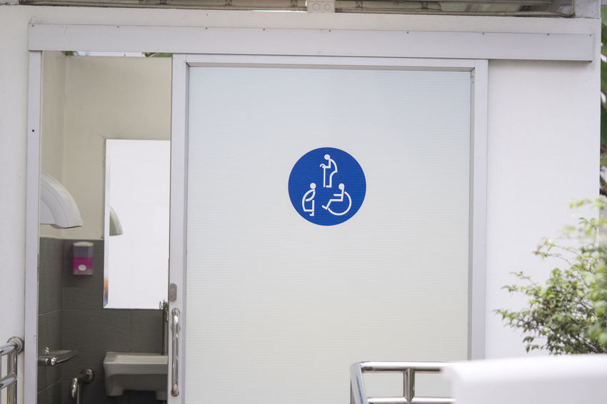 Entrance door to the Public toilet for disabled people, pregnant women, old people, Toilet sign on door Adult Baby Bath Care Chair Toilet Washroom WhellChair Access Architecture Bathroom Blue Communication Disabled Access Disabled Sign Entrance Female Indoors  Information Information Sign Information Symbol No People Old Buildings Sign White Color