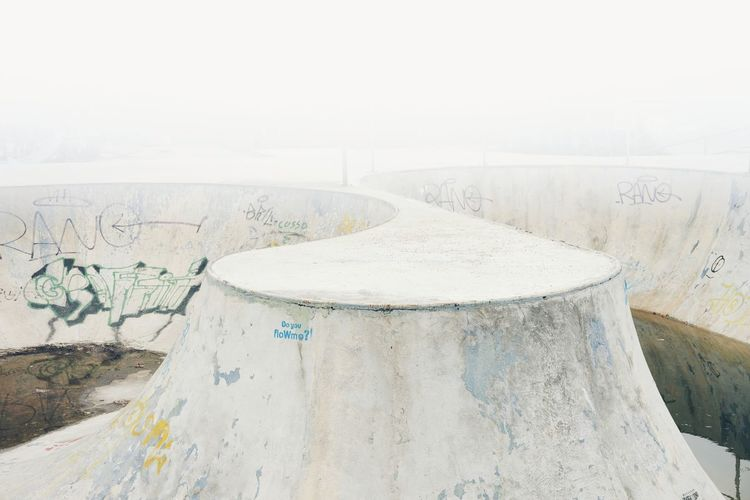 Fog Concrete Skateboard Park Architecture Minimalism Minimal Dissolving Fade Faded Abandoned No People Urban Water Whitewashed Foggy Bad Condition Stories From The City
