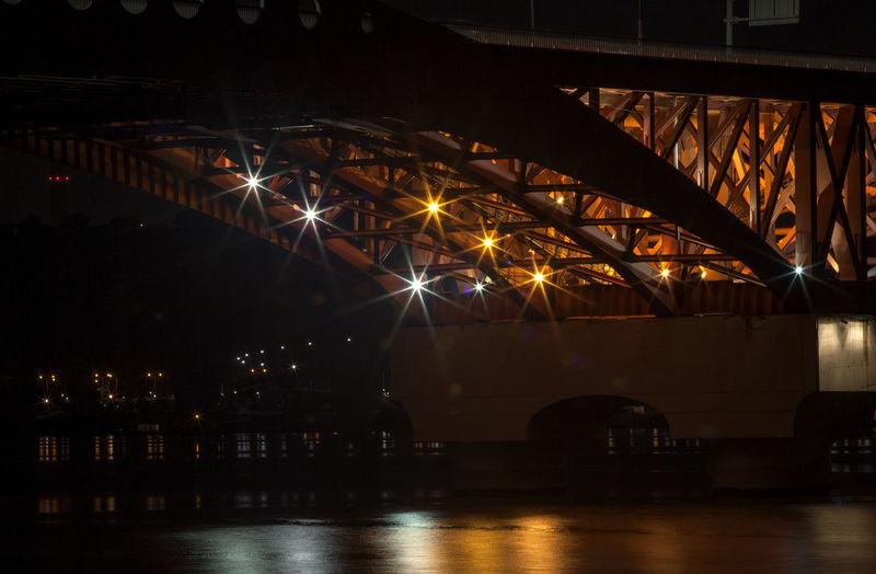 Illuminated han river bridge over river at night