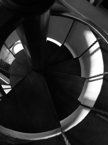 Made With IPhone 7 Black & White Indoors  Spiral Steps And Staircases Pattern No People Staircase Architecture Built Structure Spiral Staircase Railing Day Low Angle View Metal Close-up Design Diminishing Perspective Directly Below Shape Backgrounds Ceiling