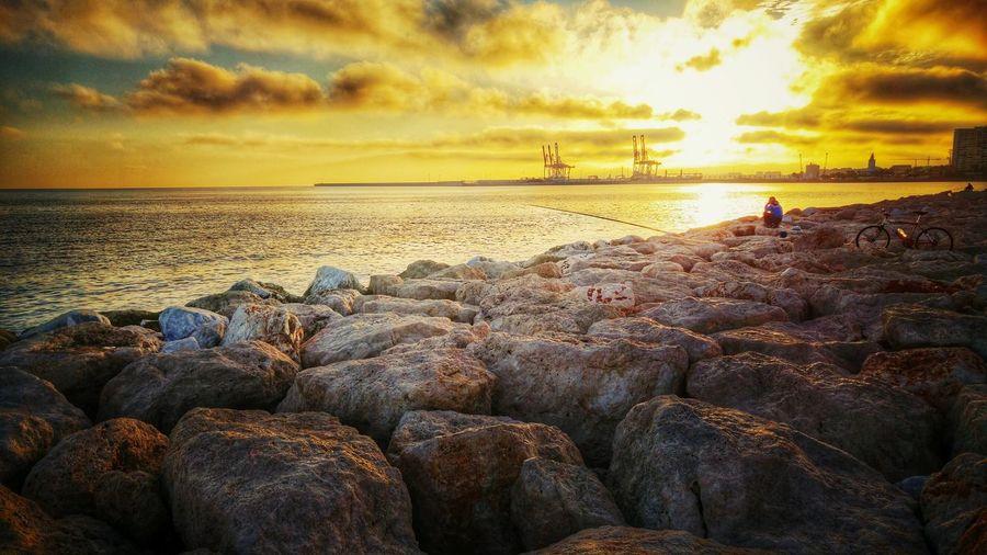 Mediterranean Sea Spanish Life Enjoying The Sunset Port Of Malaga Showcase: January