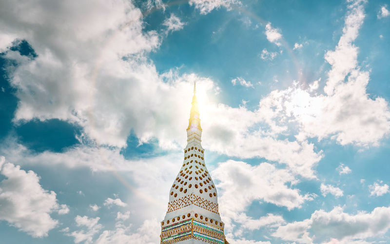 Low angle view of buddhist pagoda against sky