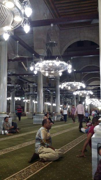 Cairo Egypt Chandeliers Elhussien Interior Masjed  Mosque